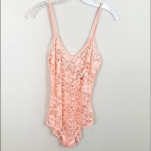 Free People peach lace bodysuit